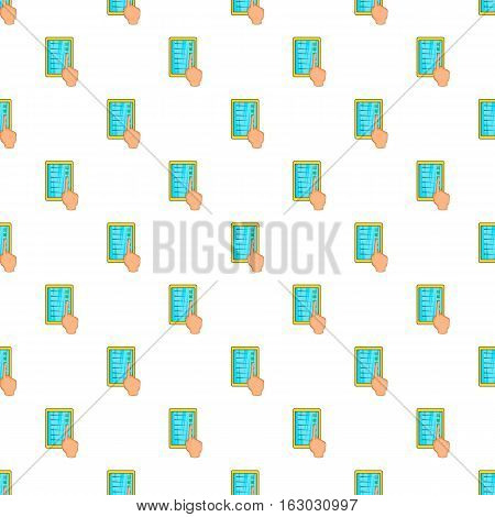 Hand on tablet puts crosses pattern. Cartoon illustration of hand on tablet puts crossese vector pattern for web