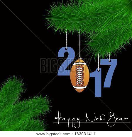 Football Ball And 2017 On A Christmas Tree Branch