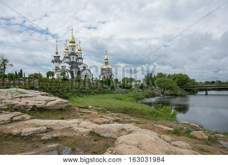 Buki temple complex in landscape park. Ukraine.