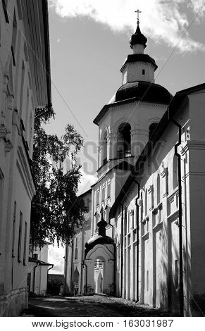 Gate Church of the Transfiguration in Kirillo-Belozersky monastery near City Kirillov Vologda region Russia. Black and white.