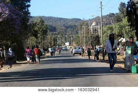 People on streets of Addis Ababa, Ethiopia, february 2015