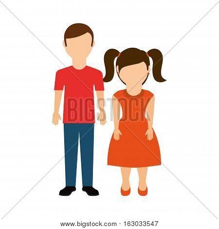 cute little couple characters vector illustration design