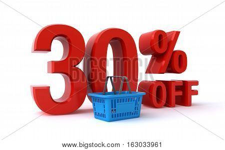 30 percent price discount sign and a shopping basket