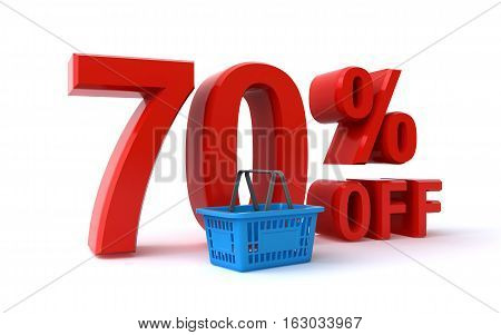 70 percent discount sign with a shopping basket (3d render)