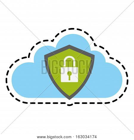 Padlock and cloud icon. Security system warning protection and danger theme. Isolated design. Vector illustration