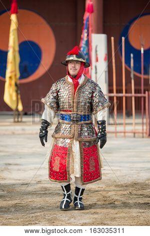 Gyeonggi-do Suwon-si South Korea - December 23 2016: Traditional Martial Arts Trial Performance December 23 2016 Gyeonggi-do Suwon-si South Korea