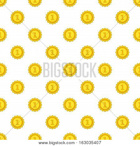 Gold medal for first place pattern. Cartoon illustration of gold medal for first place vector pattern for web