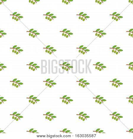 Sprig of olive pattern. Cartoon illustration of sprig of olive vector pattern for web