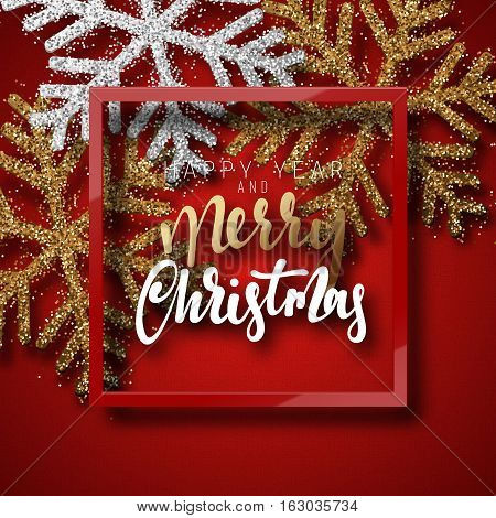 Christmas background red, with beautiful bright snowflakes realistic shine glitter. In Framed calligraphy handmade. Merry Christmas and Happy New Year poster, greeting card. Xmas holidays