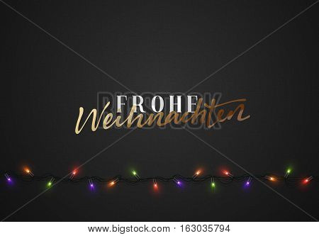 Merry Christmas. German inscription. Frohe Weihnachten. Christmas background black color with realistic garlands. Xmas Holiday and Happy New Year