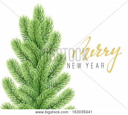 Merry Christmas and happy new year. Christmas background with fir branches. Greeting card and banner. Vector illustration