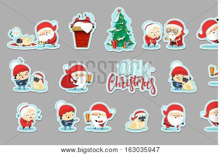 Sticker Santa Claus Funny Christmas characters in flat style. Set Santa Claus, small child, an elderly couple, grandparents, pet dog. Festive character for Christmas cards. Cute cartoon people.