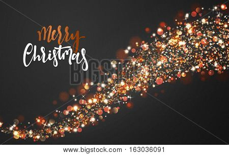 Christmas background with bright realistic glitter confetti of stars. Xmas Holiday glowing lights effect. Greeting cards design Merry Christmas and Happy New Year, lettering label.
