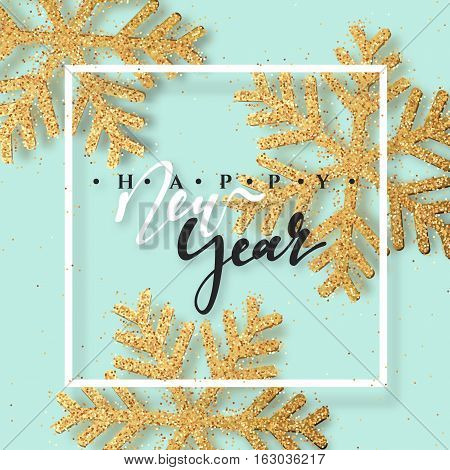 Christmas background with Shining gold Snowflakes. Lettering Happy New Year card vector Illustration.