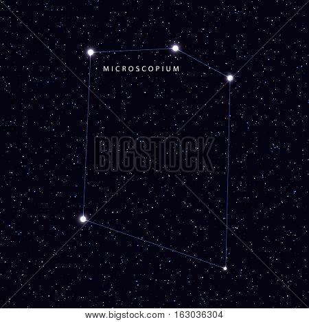 Sky Map with the name of the stars and constellations. Astronomical symbol constellation Microscopium