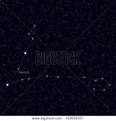 Sky Map with the name of the stars and constellations. Astronomical symbol constellation Pisces