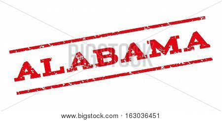 Alabama watermark stamp. Text caption between parallel lines with grunge design style. Rubber seal stamp with dust texture. Vector red color ink imprint on a white background.