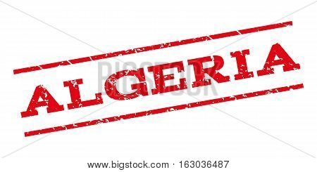 Algeria watermark stamp. Text tag between parallel lines with grunge design style. Rubber seal stamp with dirty texture. Vector red color ink imprint on a white background.