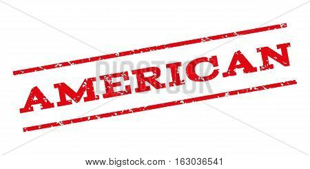 American watermark stamp. Text caption between parallel lines with grunge design style. Rubber seal stamp with dirty texture. Vector red color ink imprint on a white background.