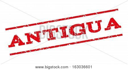 Antigua watermark stamp. Text caption between parallel lines with grunge design style. Rubber seal stamp with unclean texture. Vector red color ink imprint on a white background.