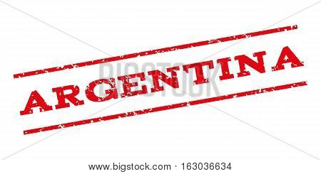 Argentina watermark stamp. Text tag between parallel lines with grunge design style. Rubber seal stamp with dust texture. Vector red color ink imprint on a white background.