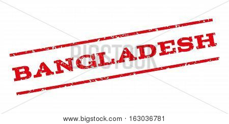 Bangladesh watermark stamp. Text caption between parallel lines with grunge design style. Rubber seal stamp with dirty texture. Vector red color ink imprint on a white background.