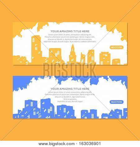 Amazing City Header Or Banner colection, This design is suitable for a brochure, banner or poster