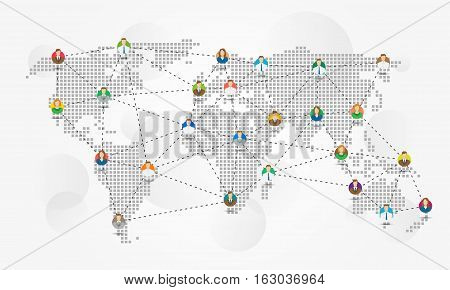 Global communication vector illustration. Avatars of people connected each other creative concept. Worldwide communications graphic design.