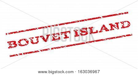 Bouvet Island watermark stamp. Text tag between parallel lines with grunge design style. Rubber seal stamp with dirty texture. Vector red color ink imprint on a white background.
