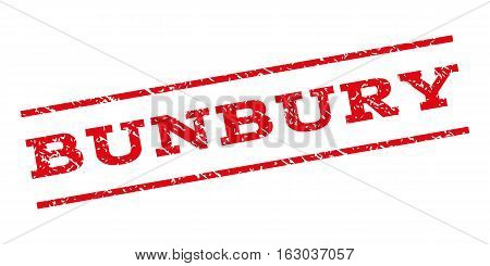 Bunbury watermark stamp. Text caption between parallel lines with grunge design style. Rubber seal stamp with dust texture. Vector red color ink imprint on a white background.