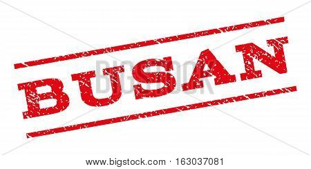 Busan watermark stamp. Text tag between parallel lines with grunge design style. Rubber seal stamp with scratched texture. Vector red color ink imprint on a white background.