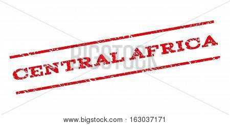 Central Africa watermark stamp. Text tag between parallel lines with grunge design style. Rubber seal stamp with dirty texture. Vector red color ink imprint on a white background.