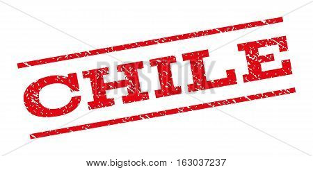 Chile watermark stamp. Text caption between parallel lines with grunge design style. Rubber seal stamp with scratched texture. Vector red color ink imprint on a white background.