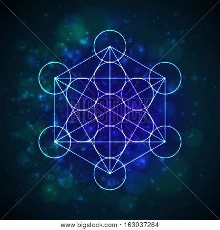 Metatrons Cube - Flower of Life. Vector illustration poster