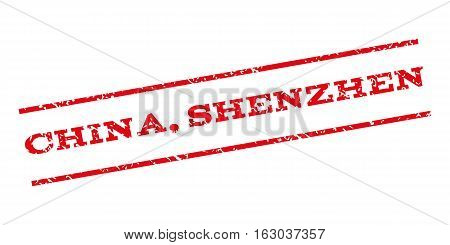China Shenzhen watermark stamp. Text tag between parallel lines with grunge design style. Rubber seal stamp with dust texture. Vector red color ink imprint on a white background.
