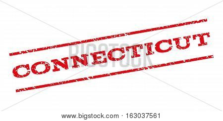 Connecticut watermark stamp. Text caption between parallel lines with grunge design style. Rubber seal stamp with dust texture. Vector red color ink imprint on a white background.