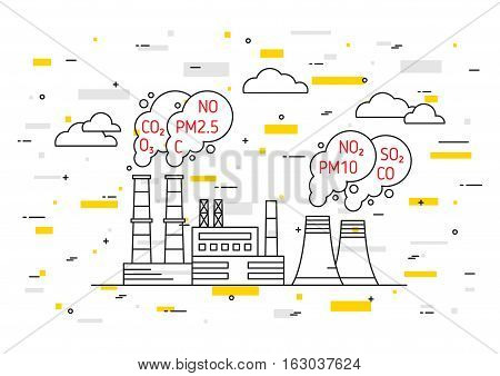 Factory pollutes atmosphere vector illustration. Dangerous air pollution and toxic smog exhaust concept. Coal industry and smoke with hazardous elements co2 dioxide carbon pm10 graphic design.