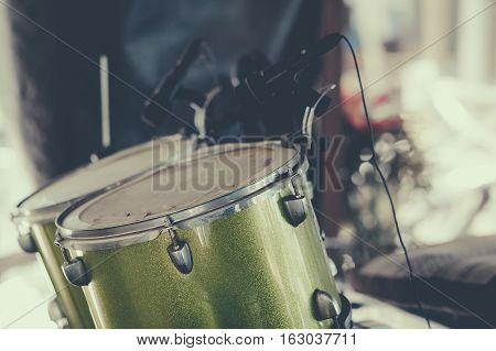 Close up drumset on stage, musical and live music concept.