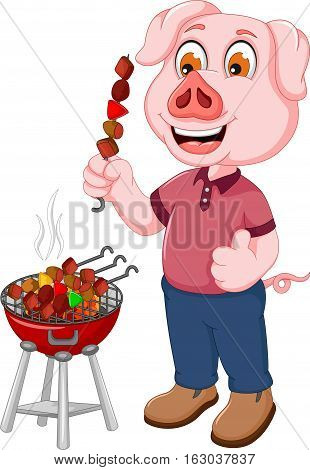 funny pig cartoon making satay for you design
