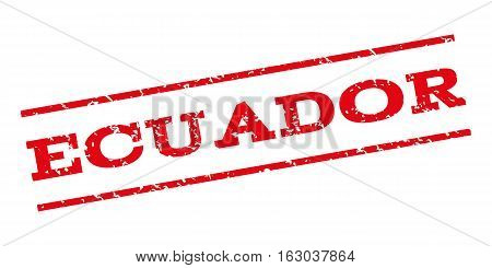 Ecuador watermark stamp. Text tag between parallel lines with grunge design style. Rubber seal stamp with dust texture. Vector red color ink imprint on a white background.