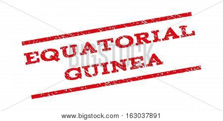 Equatorial Guinea watermark stamp. Text tag between parallel lines with grunge design style. Rubber seal stamp with dirty texture. Vector red color ink imprint on a white background.