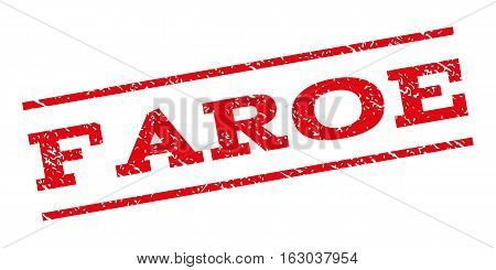 Faroe watermark stamp. Text tag between parallel lines with grunge design style. Rubber seal stamp with unclean texture. Vector red color ink imprint on a white background.