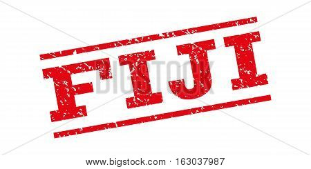 Fiji watermark stamp. Text tag between parallel lines with grunge design style. Rubber seal stamp with unclean texture. Vector red color ink imprint on a white background.