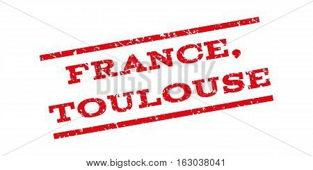 France Toulouse watermark stamp. Text tag between parallel lines with grunge design style. Rubber seal stamp with dirty texture. Vector red color ink imprint on a white background.