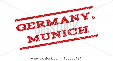 Germany Munich watermark stamp. Text tag between parallel lines with grunge design style. Rubber seal stamp with dust texture. Vector red color ink imprint on a white background.