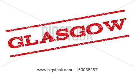 Glasgow watermark stamp. Text caption between parallel lines with grunge design style. Rubber seal stamp with dust texture. Vector red color ink imprint on a white background.