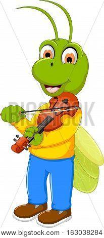 funny green grasshopper cartoon playing a violin
