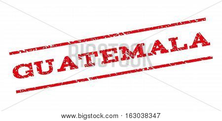 Guatemala watermark stamp. Text caption between parallel lines with grunge design style. Rubber seal stamp with dust texture. Vector red color ink imprint on a white background.