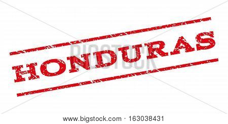 Honduras watermark stamp. Text caption between parallel lines with grunge design style. Rubber seal stamp with dirty texture. Vector red color ink imprint on a white background.