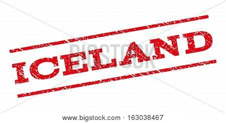 Iceland watermark stamp. Text tag between parallel lines with grunge design style. Rubber seal stamp with dirty texture. Vector red color ink imprint on a white background.